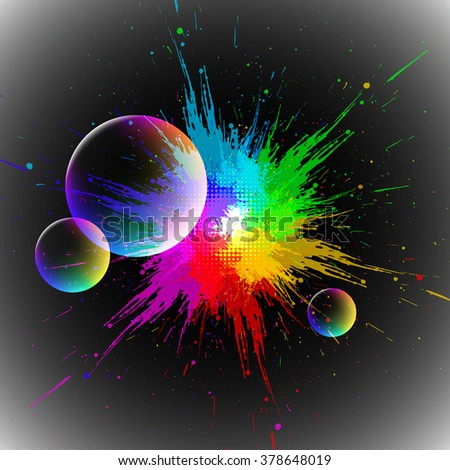 colorful blot, EPS10 with transparency and mesh - stock vector