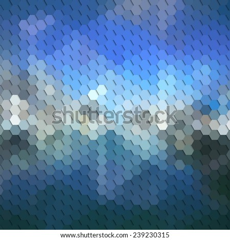 Colorful blue geometric background, abstract hexagonal pattern vector. - stock vector