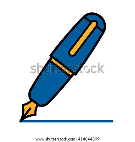 Colorful blue outline cartoon fountain pen with the lid placed over the back and the nib drawing a line, vector illustration - stock vector