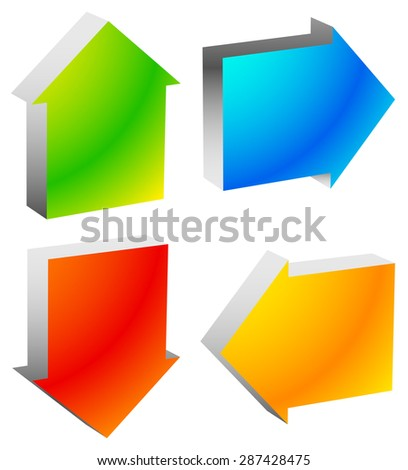 Colorful bold arrow icons. Arrows pointing to every direction. Left, right, up, down arrows. (Vector) - stock vector