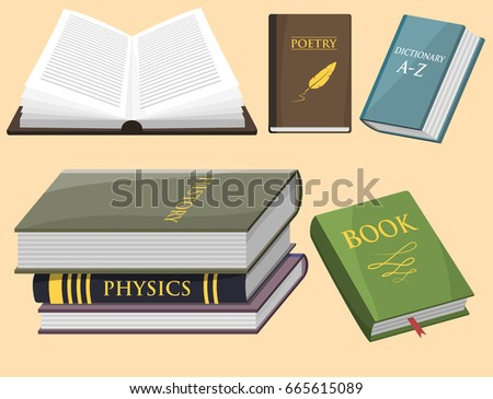 Colorful book vector illustration learn literature study opened closed education knowledge document textbook