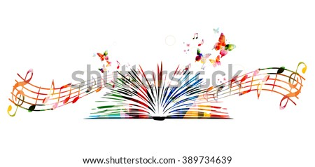 Colorful book with butterflies - stock vector