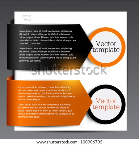 Colorful bookmarks for speech. Black and orange arrows. - stock vector