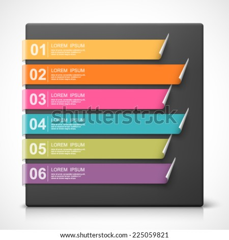 Colorful bookmarks with options. Easy to change colors. - stock vector