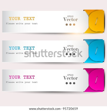 Colorful bookmarks with place for text - stock vector
