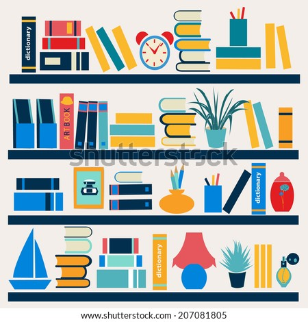 colorful books on the Bookshelves - Illustration in flat style - stock vector