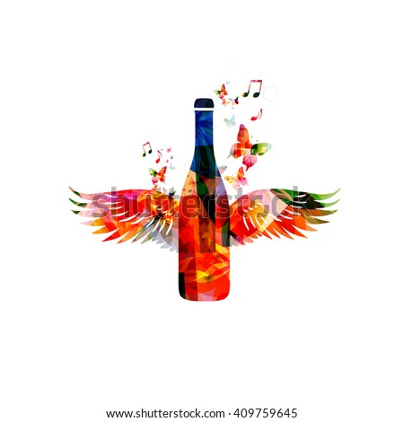 Colorful bottle with wings - stock vector