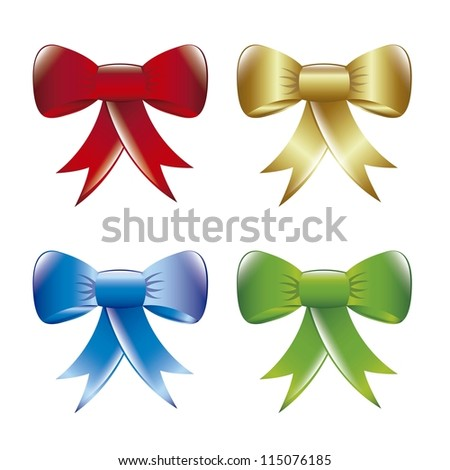 colorful bows isolated over white background. vector illustration