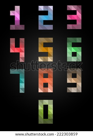 colorful box numbers set. point