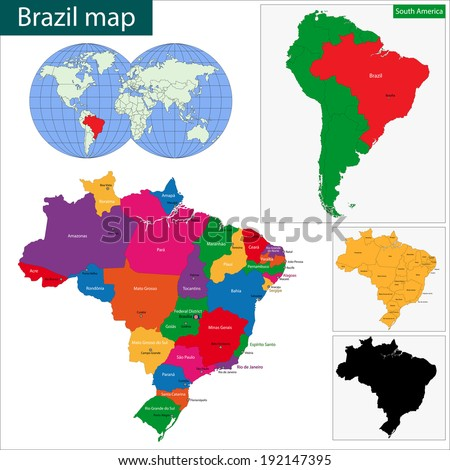 Colorful Brazil map with states and capital cities - stock vector