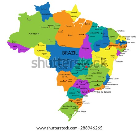 Colorful Brazil political map with clearly labeled, separated layers. Vector illustration. - stock vector