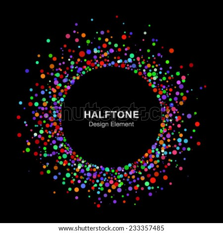 Colorful Bright Abstract Halftone Logo Design Element on Black Background, vector illustration  - stock vector