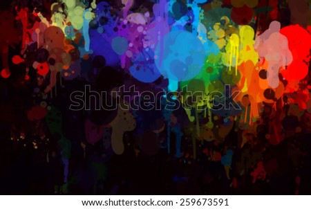 Colorful bright  brush strokes on black background. Vector version - stock vector