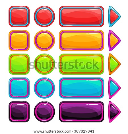 Colorful bright buttons set on white background, vector assets for game or web design