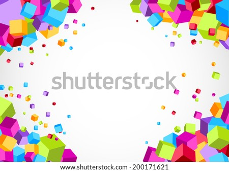 Colorful bright cube corner background. Vector illustration