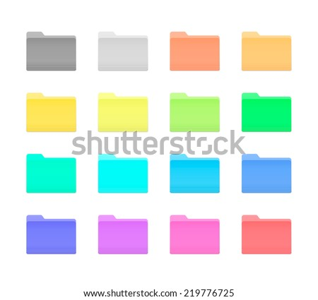 Colorful Bright Folder Icons Set in OS X Yosemite Style. Isolated on white. - stock vector
