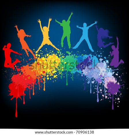 Colorful bright ink splashes and kids jumping on black background - stock vector