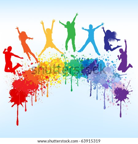 Colorful bright ink splashes and kids jumping on blue background - stock vector