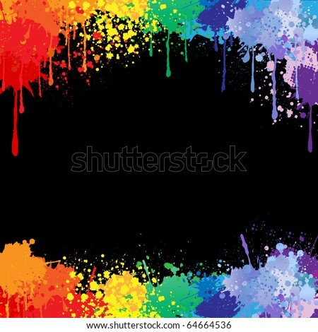 Colorful bright ink splashes on black background - stock vector