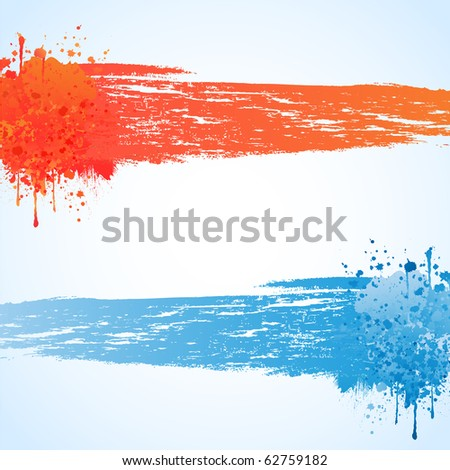 Colorful bright ink splashes on blue background - stock vector