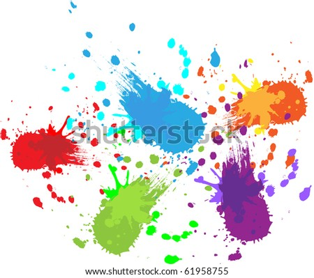 Colorful bright ink splashes on white background - stock vector