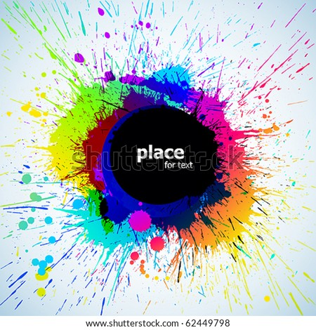 Colorful bright ink splashes with place for text - stock vector