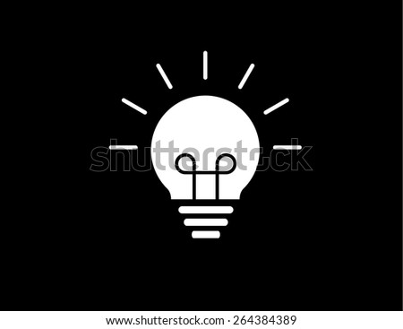 colorful bright simple glowing idea light bulb with black background - stock vector