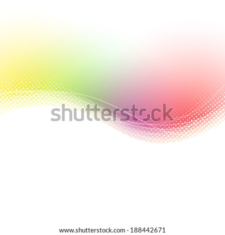 Colorful bright summer refreshing waves lines swoosh background in red and green color. Vector illustration - stock vector