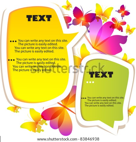 Colorful bubble for speech.  butterflies background - stock vector
