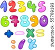 Colorful bubble-shaped numbers set - stock vector