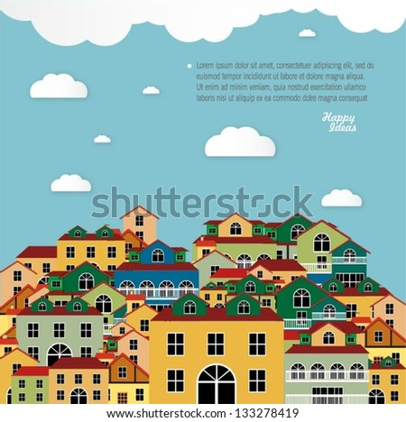 Colorful buildings design vector background - stock vector
