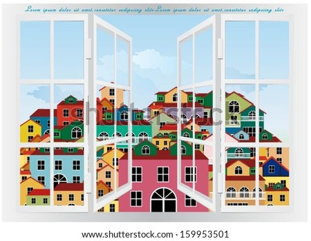 Colorful buildings design vector background. - stock vector