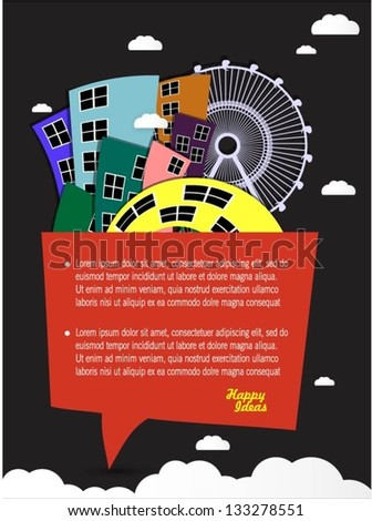 Colorful buildings design with speech bubble vector background - stock vector
