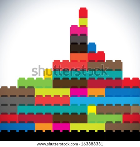 colorful buildings of metropolitan city skyline built with blocks. This abstract concept graphic represents modern buildings, office towers, skyscrapers & tall high-rise structures on white background - stock vector