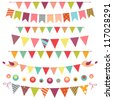 Colorful bunting and garland set isolated on white - stock photo