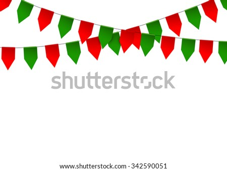 Colorful bunting flag isolated on white background. - stock vector