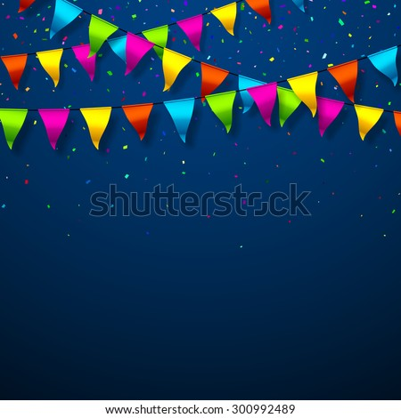 Colorful bunting flags with confetti festive background. Vector. - stock vector