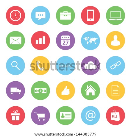 colorful business and ecommerce icons set - stock vector
