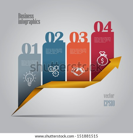 Colorful business infographics with 4 steps. Vector editable file. - stock vector