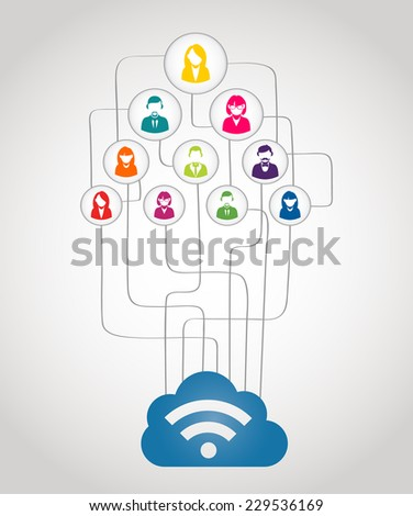 Colorful business network people concept with could computing diagram. EPS10 vector file with transparency layers.  - stock vector