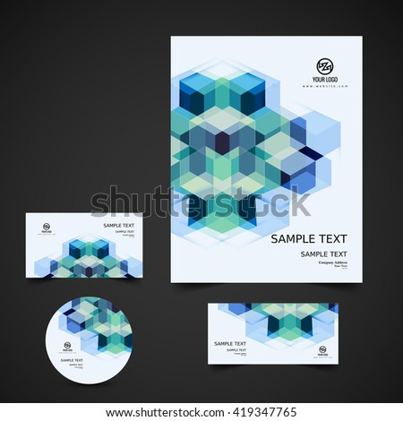 Colorful business stationery set - stock vector