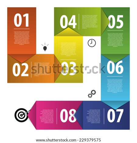 Colorful business vector paper progress steps template. Vector - stock vector