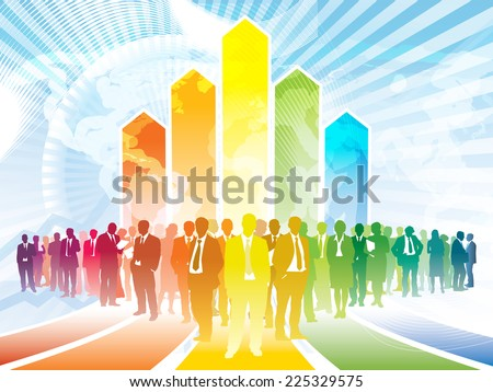 Colorful businesspeople are standing in front of a large rising graph - stock vector