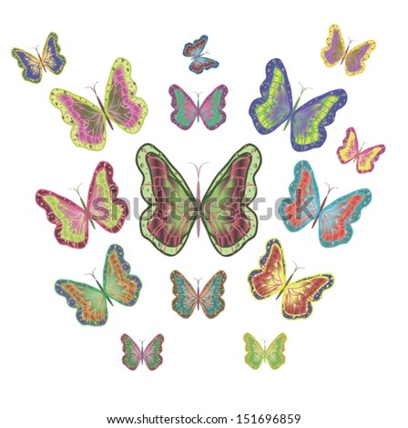 colorful butterflies. vector illustration