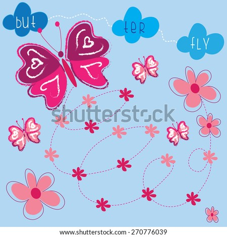 colorful butterflies with flowers and clouds and curls vector illustration - stock vector