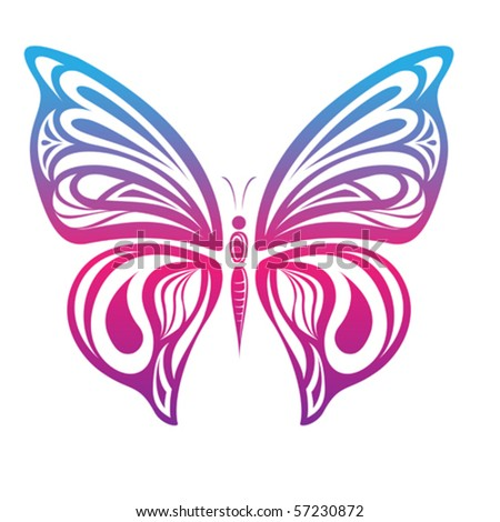 colorful butterfly - stock vector