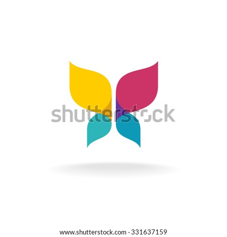 Colorful butterfly logo. Overlay transparent sheets style. - stock vector