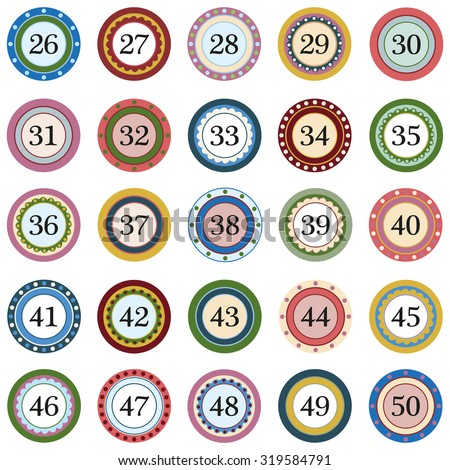 Colorful Button with numbers on white background