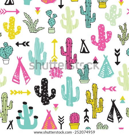 Colorful cacti indian summer teepee and arrow cactus illustration theme background pattern in vector - stock vector