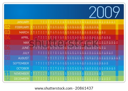 Colorful 2009 Calendar Design - stock vector